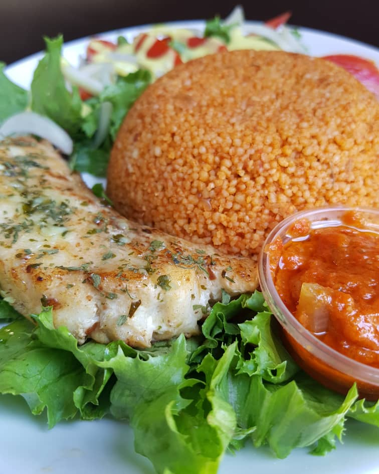 couscous jollof with grilled groupa